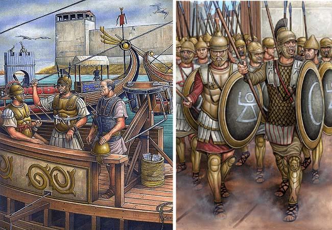Doble ilustración sobre la conquista romana de Carthago Nova. A la izquierda, Gayo Lelio dirigiendo la flota romana. A la derecha, mercenarios cartagineses listos para defender la ciudad de Escipión el Africano
