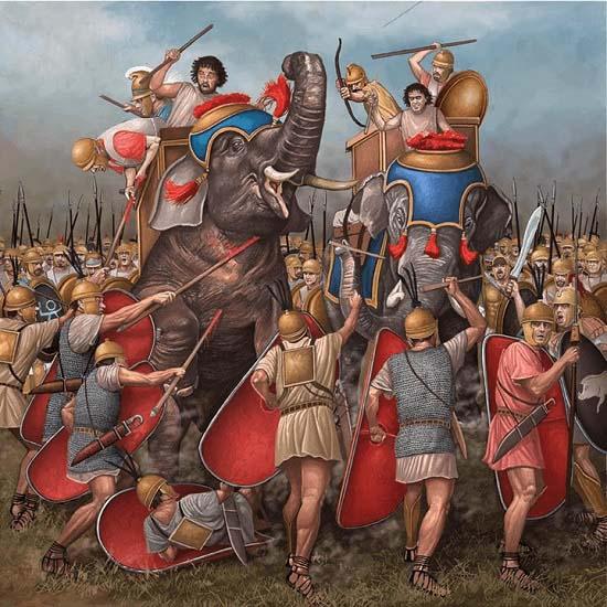 Ilustración que recrea cómo las tropas romanas atacan a los elefantes púnicos durante una de las batallas de después de Cannas