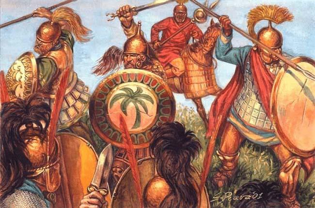 Ilustración que recrea a soldados cartagineses luchando contra romanos durante la invasión romana de África