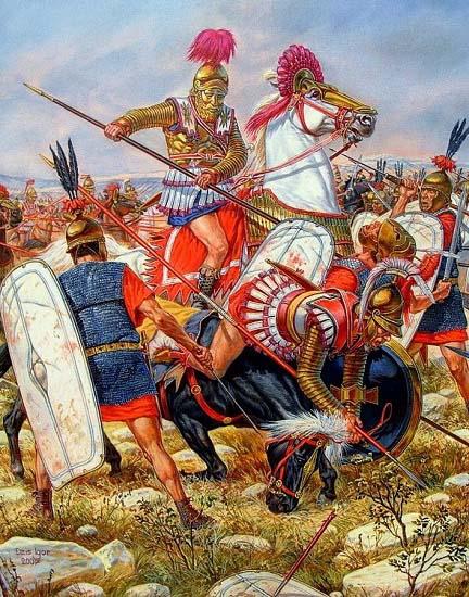 Ilustración que recrea al rey Antíoco III en la batalla de Magnesia contra Lucio Cornelio Escipión