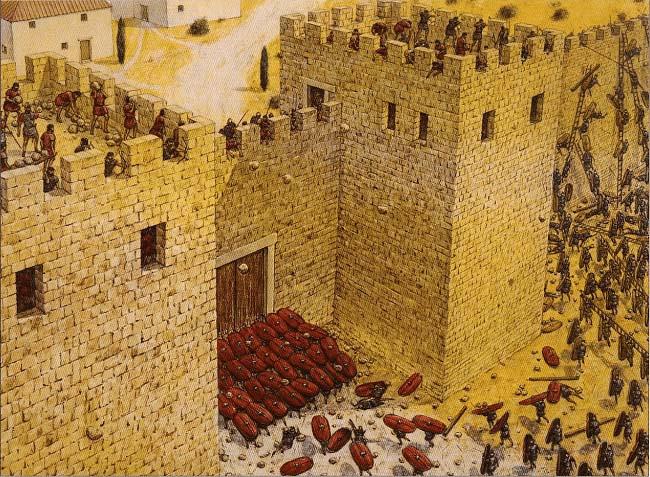 Ilustración que recrea el asalto romano a las puertas de la ciudad de Carthago Nova por parte de Escipión el Africano