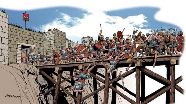 Ilustración que recrea la conquista púnica de la ciudad de Tarento, cuatro años después de Cannas