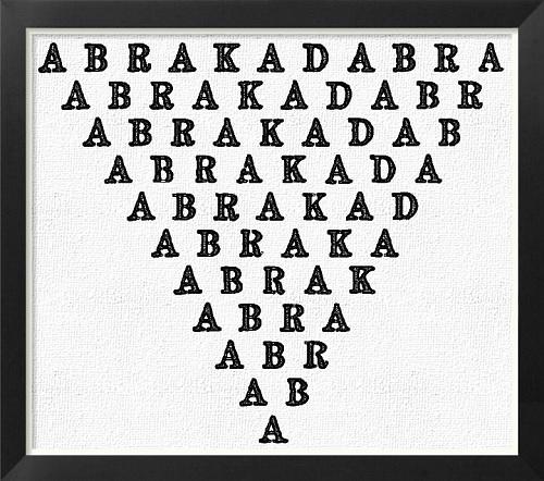 """Dentro de las maldiciones romanas, este es un texto de """"abracadabra"""" que debía leerse de arriba abajo varias veces para que surgiera efecto deseado. Procedente del siglo III d.C. en un libro llamado Liber Medicinalis"""