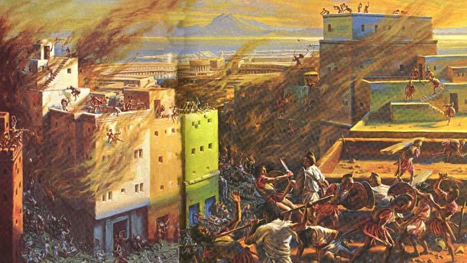 Ilustración que recrea el asalto romano de Cartago casa por casa durante la Tercera Guerra Púnica