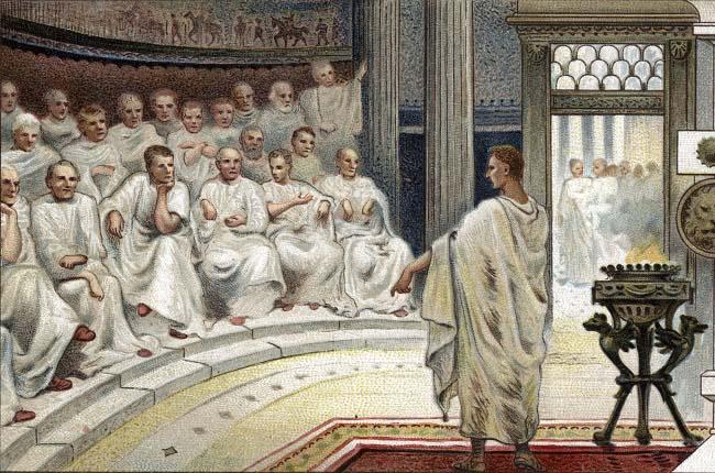 Obra del siglo XIX que recrea uno de los discursos de Marco Porcio Catón en el Senado para animar a la Tercera Guerra Púnica contra Cartago