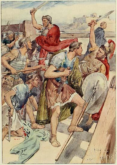 Ilustración que recrea la persecución contra Cayo Graco y sus seguidores