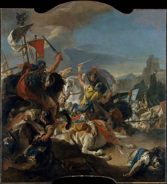 La batalla de Vercelas, obra de Giovanni Battista Tiepolo hecha en el siglo XIX. recrea la lucha final de la guerra cimbria contra cimbrios y teutones