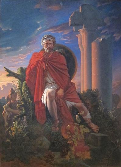 Mario meditando sobre las ruinas de Cartago, obra de Pierre-Nolasque Bergeret hecha en el siglo XIX