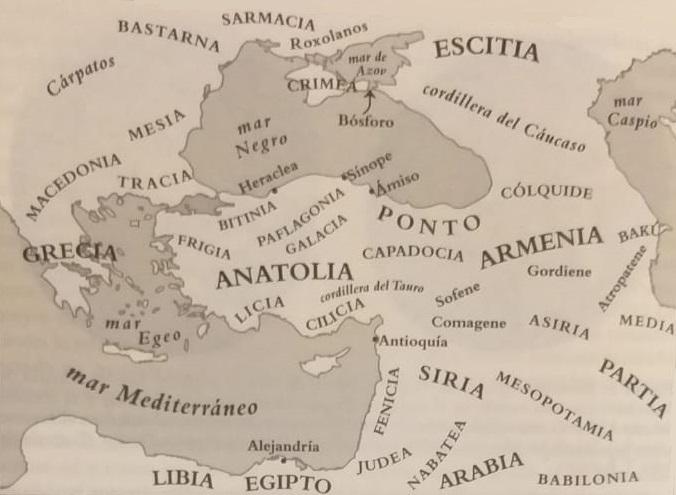 Mapa del Mediterráneo Oriental y la región del mar Negro, escenarios de las Vísperas Asiáticas