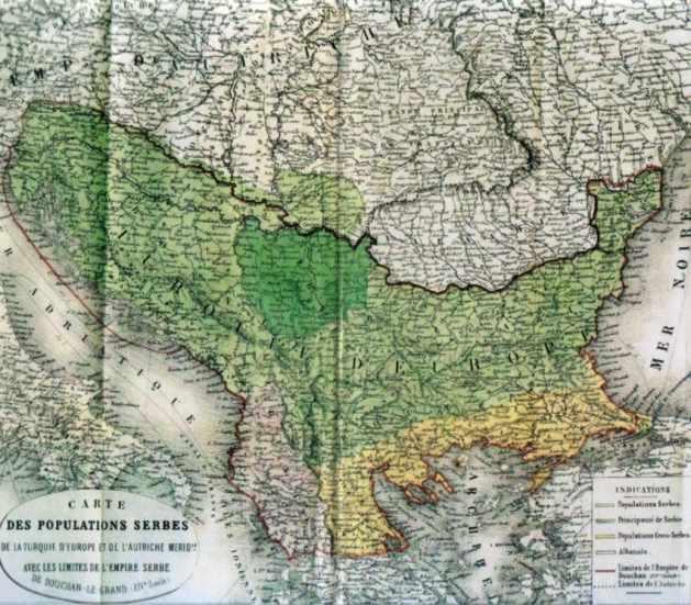 Eine französische Karte Groß-Serbiens