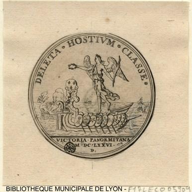 Combat naval de Palerme. La Victoire couronnant un globe orné de trois fleurs de lys sur une galère à l'antique Auteur : Leclerc, Sébastien, 1637-1714