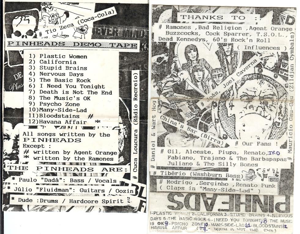 """Capa da primeira demo """"Pinheads"""""""