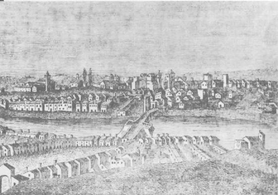 Gravura do século XVII - O Rio visto da margem esquerda Autor desconhecido