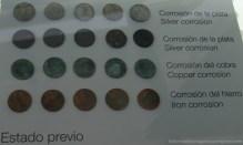 Tipos de corrosión según el tipo de materiales de las monedas.