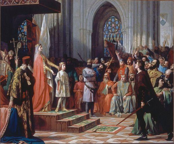 María de Molina presenta a su hijo Fernando IV en las Cortes de Valladolid Antonio Gisbert Pérez (1863)