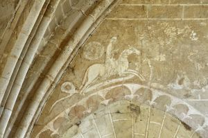 Commanderie de Coulommiers (Seine-et-Marne, France) : saint Georges et le dragon, fresque dans la chapelle