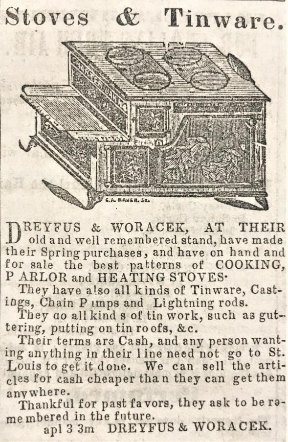 Advertisement in Louisiana Journal on April 17, 1862