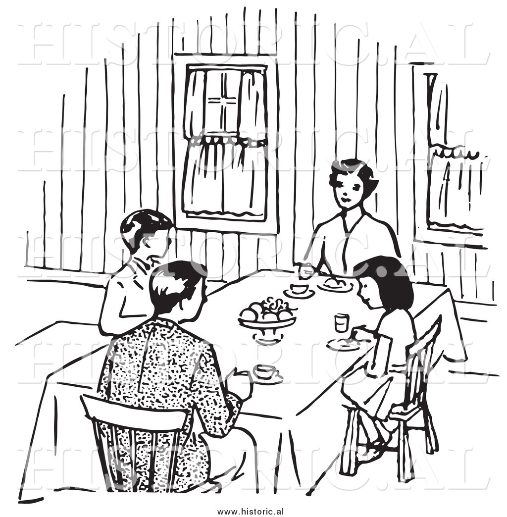 Clipart Of A Family Eating At Dinner Table