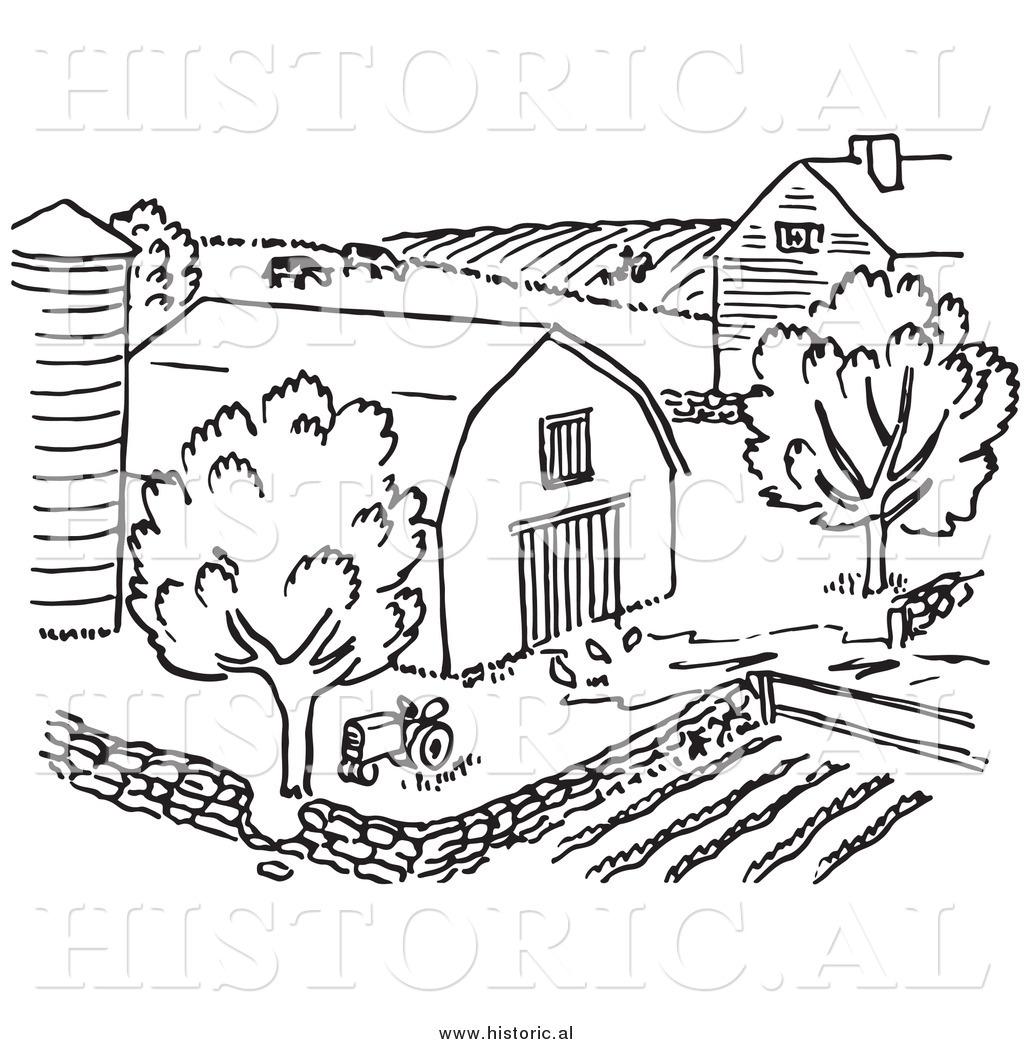 Clipart Of A Farm With Barn Silo Trees And Garden