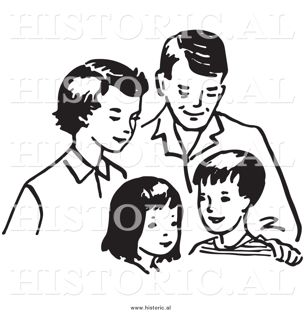 Clipart Of A Happy Family Together Mom Dad Daughter