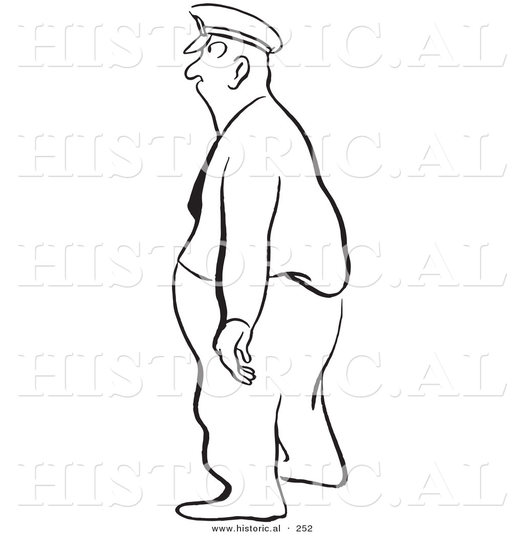 Historical Illustration Of An Obese Cartoon Police Man