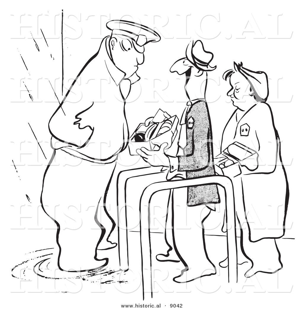 Historical Vector Illustration Of A Cartoon Security Guard