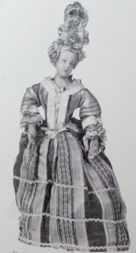 Pandora doll- imported from France during the 18thC to inform Georgian women in Britain about the latest French fashions