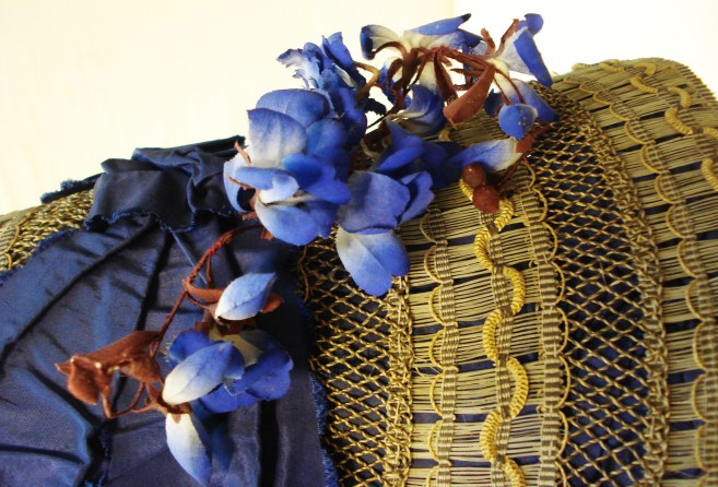 Detail of artificial flower, 1840s bonnet, Snowshill Collection
