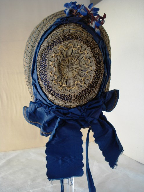 Crown view of 1840s bonnet, Snowshill Collection