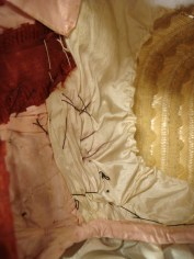 Stitching, interior lining, 1840s bonnet
