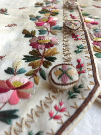 Embroidery and button detail,1780-90 waistcoat