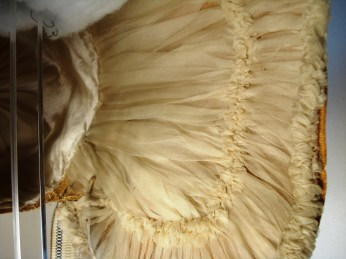 Ruched lining detail, early 19th C. Poke Bonnet, Snowshill Costume Collection