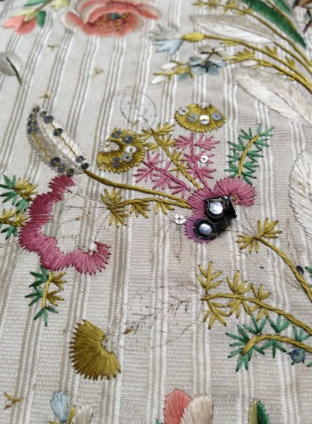 Exposed drawing and embroidery detail, Embroidered waistcoat, 1775-85