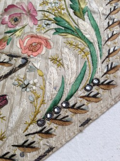 Paste glass detail, Embroidered waistcoat, 1775-85