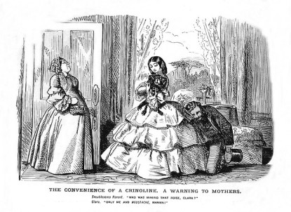 'The convenience of a crinoline, A waning to morthers', 19th century satire.