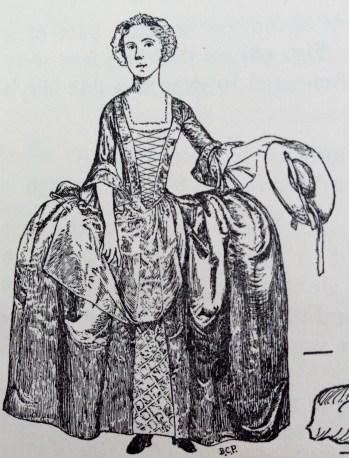Oblong hoop, 1743-45, Image taken from 'Your Book of Seventeenth & Eighteenth Century Costume, Phillis Cunnington, 1970.