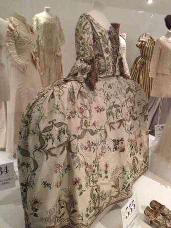 Showcasing wealth with hoops, 1760's court dress, Bath Fashion Museum, July 2013