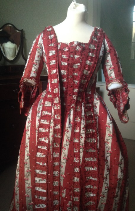 Front view, 1770s sackback dress, 'Gorgeous Georgians' exhibition at Berrington Hall 2014, Charles Paget Wade Collection,