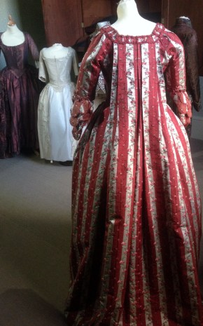 Full length rear view, 1770s sackback dress, 'Gorgeous Georgians' exhibition at Berrington Hall 2014, Charles Paget Wade Collection,