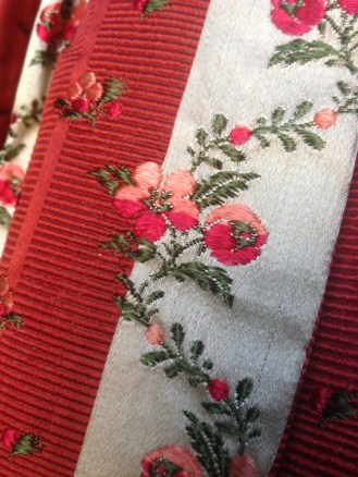 Detail, 1770s sack back dress, 'Gorgeous Georgians' exhibition at Berrington Hall 2014, Charles Paget Wade Collection,