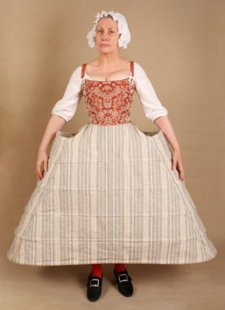 Hoop petticoats were fashionable for most of the 18th century from about 1710 till the 1780s; in England they were retained for Court wear till 1820. Created by thestaymaker.co.uk