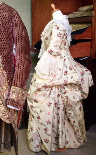 Side view of polonaise, 1775-80 Polonaise dress, 'Gorgeous Georgians' exhibition at Berrington Hall 2014, Charles Paget Wade Collection.