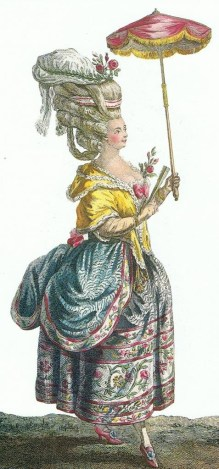 Fashion plate by Le Clerc, 'polonaise' printed outdoor dress, 1786