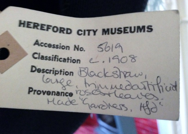 Label from 1908 hat on loan Hereford Museum Resource and Learning Centre