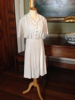 1945, CC41 Crepe Rayon Day Dress, Hereford Museum. Professor Nancy Hills for 'Symphony In White' exhibition at Berrington Hall throughout 2014.