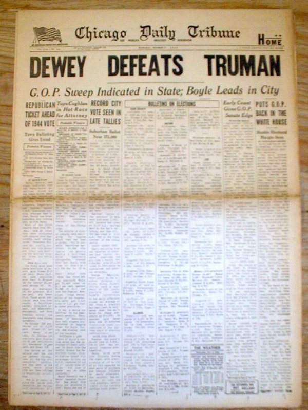 Original Nov 3 1948 Chicago Tribune error headlne ...