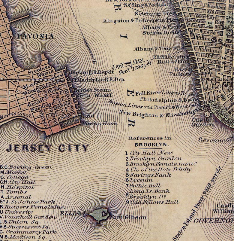 old nyc maps   New York City Historical Blog ellis island and jersey city labeled