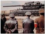 The German High Command observes the finished Schwerer Gustav Rail Gun. (PHOTO BY DIESELPUNKS.COM)