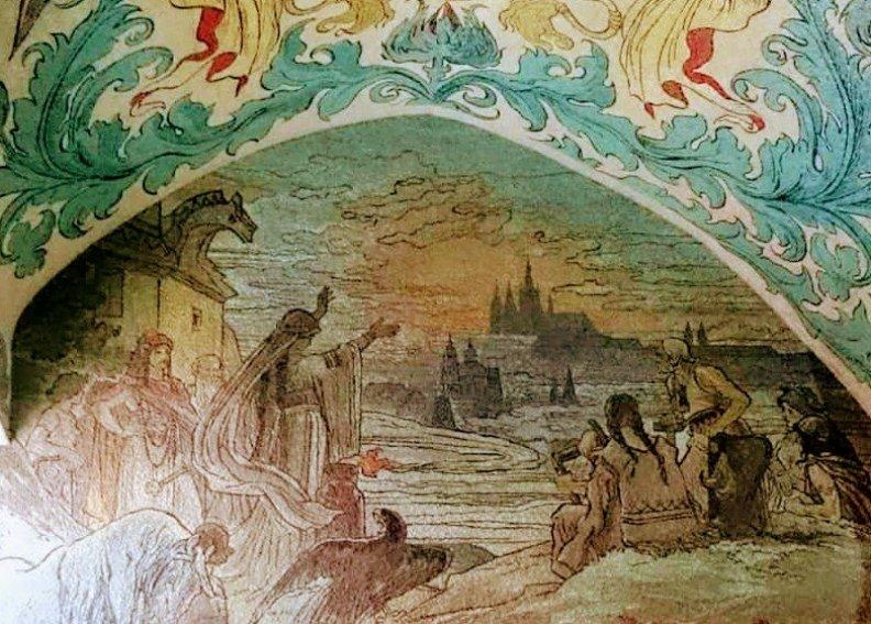 莉布絲預言布拉格圖。莉布絲從高堡(Vyšehrad)處,預見未來布拉格的壯觀。該圖攝於布拉格老城市政廳內。