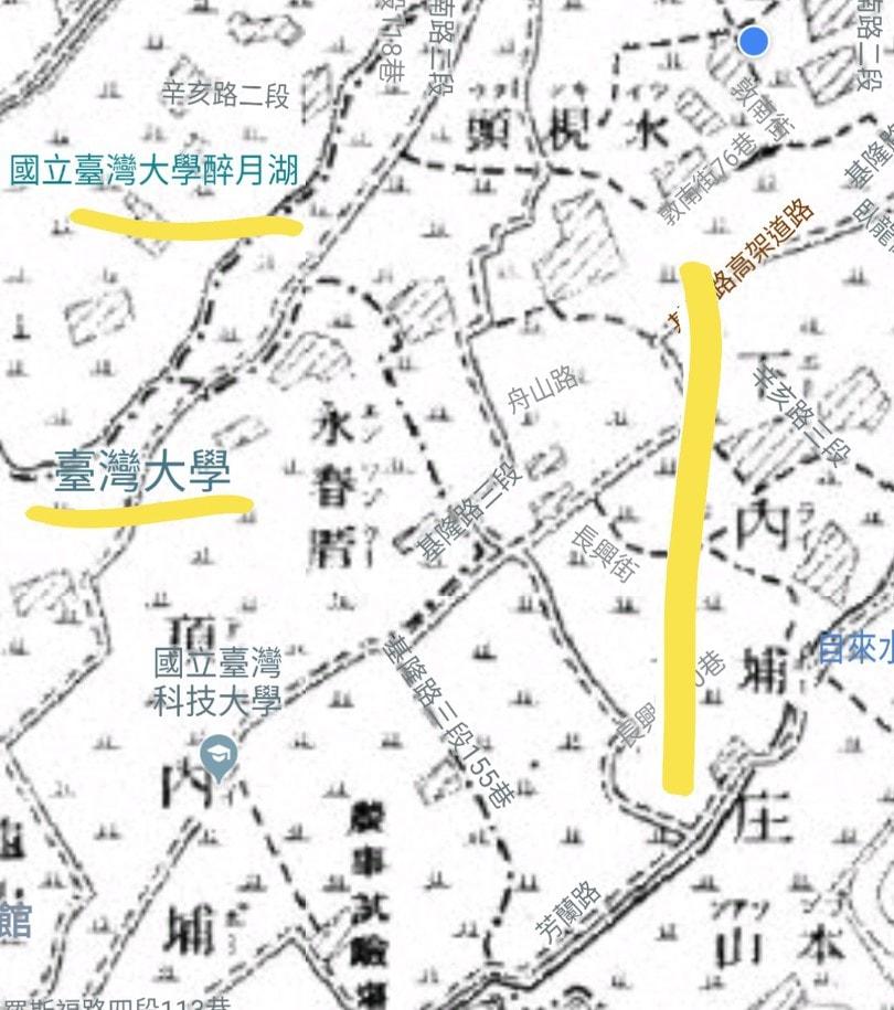 20世紀初期(1900年前後)的地圖,紀錄清末到日本時代初期的樣貌,藍點為土地公處所在,可見今天臺灣大學與臺灣科技大學的範圍頂內埔、下內埔的古名。引用自臺灣百年歷史地圖堡圖圖層。